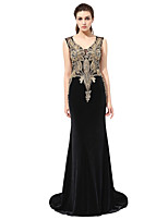 cheap -Mermaid / Trumpet V-neck Sweep / Brush Train Velvet Prom Formal Evening Dress with Beading Appliques by Sarahbridal