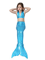 cheap -The Little Mermaid Skirt Kid Halloween Festival / Holiday Halloween Costumes Blue Green Fuschia Cyan Silver Mermaid
