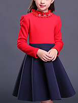 Girl's Going out Casual/Daily Solid Dress,Cotton Winter Fall Long Sleeves Vintage Red Wine