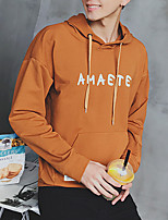 Men's Casual/Daily Simple Hoodie Print Hooded Micro-elastic Cotton Long Sleeve Fall