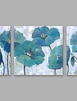 economico -Dipinta a mano Floreale/Botanical Verticale,Modern Tela Hang-Dipinto ad olio Decorazioni per la casa Tre Pannelli