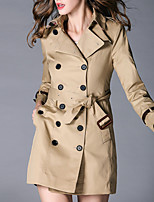 cheap -Women's Casual/Daily Simple Winter Fall Trench Coat,Solid Shirt Collar Long Sleeve Long Cotton Others