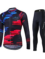 abordables -Fastcute Maillot de Ciclismo con Mallas Hombre Manga Larga Bicicleta Medias/Mallas Largas Pantalones/Sobrepantalón Camiseta/Maillot Top