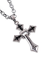 Men's Cross Casual Gothic Fashion Pendant Necklace Chain Necklace , Alloy Pendant Necklace Chain Necklace , Halloween Daily