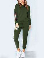 Women's Sports Casual/Daily Street chic Winter Fall Set Pant Suits,Striped Round Neck Long Sleeve Polyester