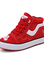 cheap -Girls' Shoes Canvas Winter Fall Comfort Sneakers Walking Shoes Lace-up for Casual Black Red Blue