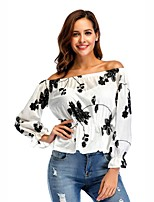 cheap -Women's Work Sexy Street chic Spring Fall T-shirt,Print Boat Neck Long Sleeve Cotton Thin