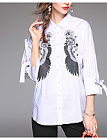 cheap -Women's Daily Casual Spring Fall Shirt,Print Shirt Collar Long Sleeve Polyester