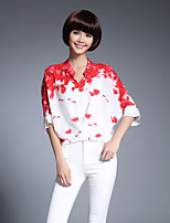 cheap -Women's Casual/Daily Work Chinoiserie Spring Summer Blouse,Floral Stand ½ Length Sleeve Silk Medium