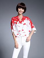 economico -Blusa Da donna Casual Ufficio Stoffe orientali Primavera Estate,Fantasia floreale Colletto alla coreana Seta Medio spessore