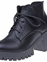 cheap -Women's Shoes PU Winter Comfort Combat Boots Boots Low Heel Round Toe Mid-Calf Boots for Casual Gray Black