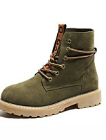 cheap -Women's Shoes PU Winter Comfort Boots Chunky Heel Round Toe Closed Toe Booties/Ankle Boots for Casual Khaki Green Black