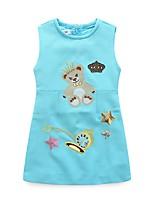 Robe Fille de Décontracté / Quotidien Imprimé Polyester Hiver Automne Sans Manches simple Rose Claire Bleu clair