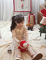 Girls' Print Clothing Set,Cotton Winter Fall Long Sleeve Cute Beige