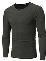 preiswerte -Herren Lang Pullover-Lässig/Alltäglich Arbeit Solide Rundhalsausschnitt Langarm Polyester Frühling Herbst Dick Mikro-elastisch