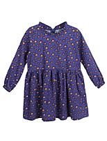 Girl's Casual/Daily Print Dress,Polyester Winter Fall Long Sleeves Simple Blue