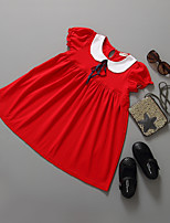 cheap -Girl's Going out Solid Dress,Cotton Summer Short Sleeves Princess Red