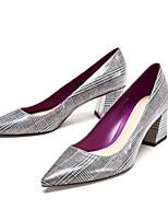 preiswerte -Damen Schuhe PU Frühling Herbst Komfort High Heels Blockabsatz für Normal Hellgrau