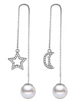 cheap -Women's Drop Earrings Hoop Earrings Imitation Pearl Sweet Fashion Elegant Alloy Moon Star Jewelry Wedding Party