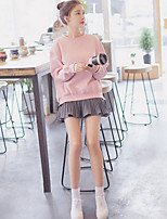 Women's Casual/Daily Simple Fall Hoodie Skirt Suits,Solid Round Neck Long Sleeve Oversized Polyester Micro-elastic