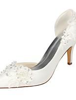 abordables -Mujer Zapatos Satén Elástico Primavera Verano Pump Básico Zapatos de boda Tacón Stiletto Dedo Puntiagudo Cristal para Vestido Fiesta y