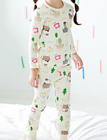 Недорогие -Девочки Пижамы Хлопок Цветочный принт С животными принтами Длинные рукава Мультяшная тематика