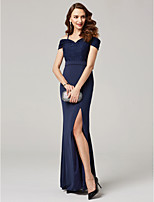 cheap -Sheath / Column Off-the-shoulder Floor Length Polyester Formal Evening Dress with Sequins Pleats by TS Couture®