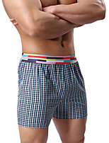 Men's Inelastic Striped Boxers Underwear Medium,Cotton Polyester 1pc Light Green Blue
