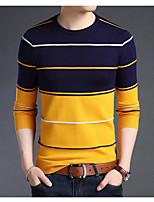 preiswerte -Herren Standard Pullover-Lässig/Alltäglich Einfach Gestreift Rundhalsausschnitt Langarm Wollmischung Winter Herbst Dick Mikro-elastisch