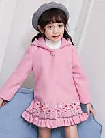Girls' Embroidery Jacket & Coat,Polyester Long Sleeves Vintage Blushing Pink Navy Blue