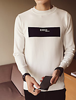 cheap -Men's Casual/Daily Simple Regular Pullover,Print Round Neck Long Sleeves Polyester Winter Opaque Micro-elastic
