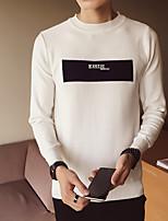 Недорогие -Для мужчин На каждый день Простой Обычный Пуловер С принтом,Круглый вырез Длинный рукав Полиэстер Зима Плотная Слабоэластичная
