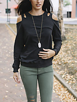 Women's Daily Holiday Street chic Winter Fall T-shirt,Solid Round Neck Long Sleeve Polyester