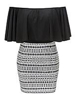 Недорогие -Для женщин На выход На каждый день Простой Винтаж Секси Облегающий силуэт Оболочка Платье Контрастных цветов Шахматка,Вырез лодочкой Мини