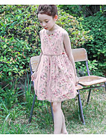 cheap -Girl's Holiday Casual/Daily Floral Dress,Polyester Summer Sleeveless Simple Blushing Pink