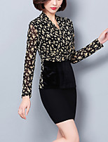 cheap -Women's Going out Work Sexy Street chic Spring Fall Blouse,Print V Neck Long Sleeve Polyester Medium