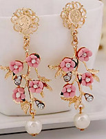 Women's Drop Earrings Sweet Oversized Imitation Pearl Alloy Flower Jewelry For Daily Club