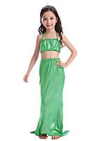 cheap -The Little Mermaid Skirt Swimwear Bikini Kid Christmas Masquerade Festival / Holiday Halloween Costumes Fuschia Green Blue Pink Solid