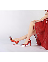 preiswerte -Damen Schuhe Echtes Leder Frühling Sommer Pumps High Heels Stöckelabsatz Applikation für Normal Rot Blau