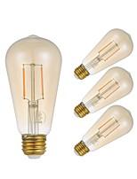 cheap -4pcs 2.5W 180lm E26 LED Filament Bulbs ST21 2 LEDs COB Dimmable Edison Bulb Decorative LED Lights Warm White 2200K AC 110-130V