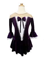 cheap -Figure Skating Dress Women's Girls' Ice Skating Dress Violet Spandex Lace Inelastic Performance Practise Skating Wear Solid Long Sleeves