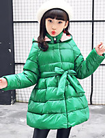 Girls' Solid Down & Cotton Padded,Polyester Long Sleeves Cute Green Black Fuchsia