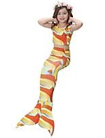 abordables -The Little Mermaid Falda Niño Halloween Festival / Celebración Disfraces de Halloween Púrpula Rojo Naranja Fucsia Arco iris Sirena