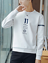 cheap -Men's Daily Wear Hoodie & Sweatshirt Letter Round Neck Micro-elastic Cotton Long Sleeves Fall