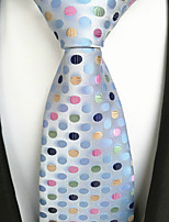 cheap -Men's Polyester Necktie,Work Casual Polka Dot All Seasons Blue