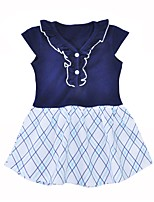 cheap -Girl's Daily Going out Grid/Plaid Dress,Cotton Summer Short Sleeves Cute Active Navy Blue