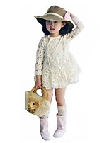 cheap -Girl's Daily Going out Solid Embroidered Dress,Cotton Spring Summer Long Sleeves Cute Princess Beige