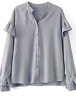 cheap -Women's Daily Casual Spring Fall Shirt,Solid Shirt Collar Long Sleeve Polyester Opaque