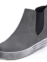 cheap -Women's Shoes PU Winter Comfort Combat Boots Boots Flat Heel Round Toe Mid-Calf Boots for Casual Gray Black