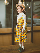Girl's Casual/Daily Print Dress,Cotton Fall Sleeveless Simple Green Yellow